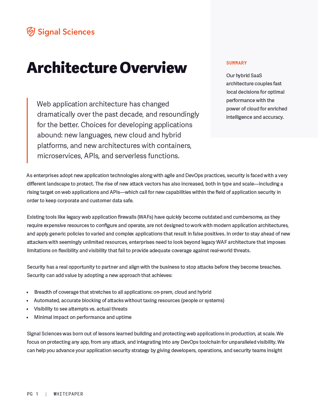 Signal Sciences Architecture Datasheet