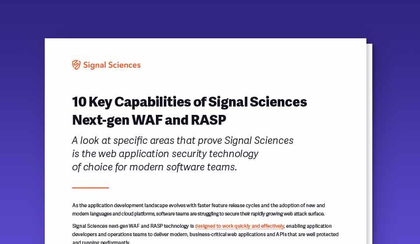 Ten Key Capabilities of Signal Sciences