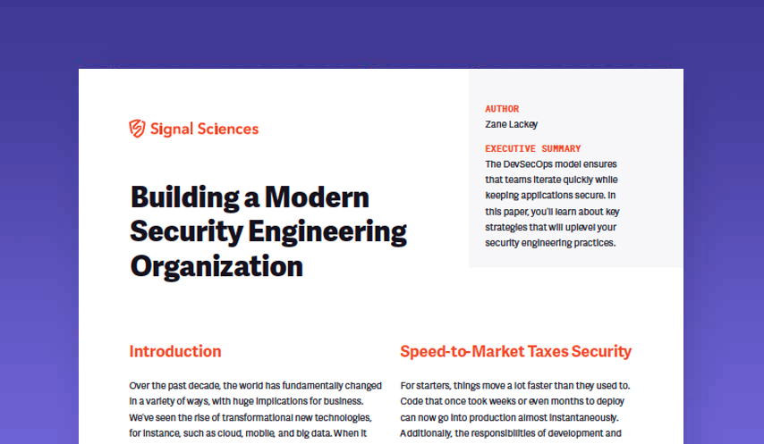 Building a Modern Security Engineering Organization White Paper
