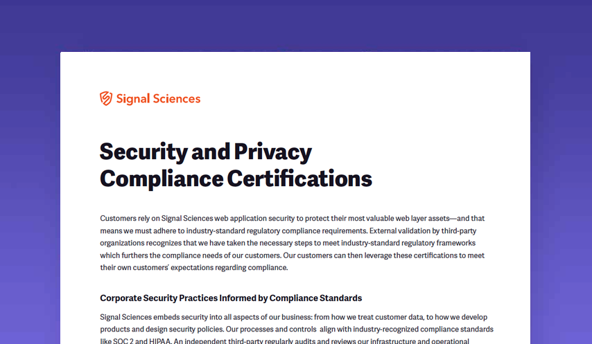 Security and Privacy Compliance Certifications