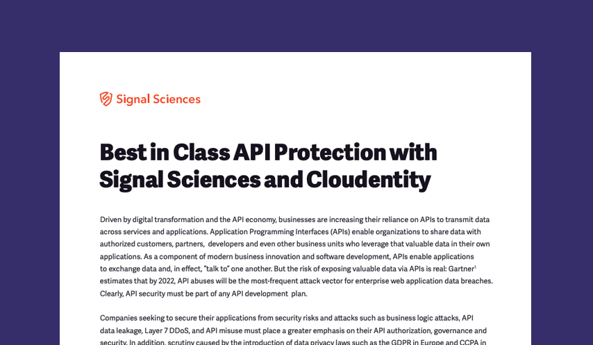 Best in Class API Protection with Signal Sciences and Cloudentity