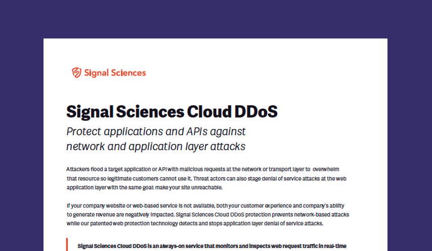 Signal Sciences Cloud DDoS