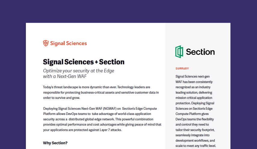 Signal Sciences + Section