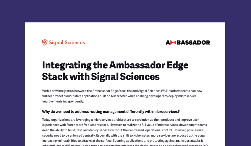Integrating the Ambassador Edge Stack with Signal Sciences