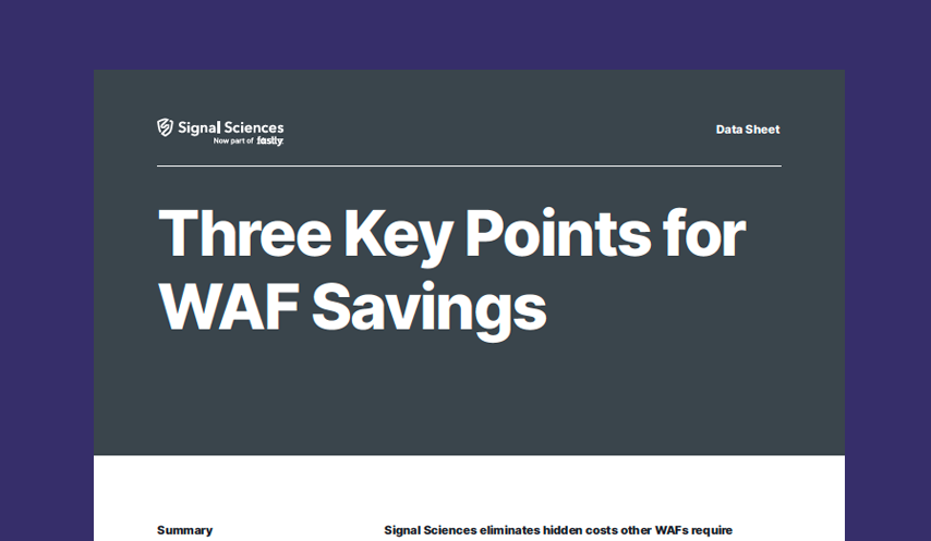 Three Key Points for WAF Savings