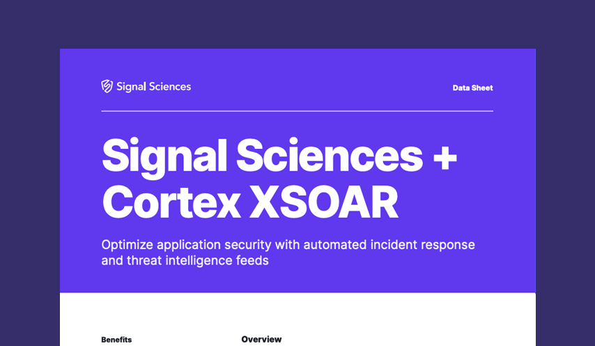 Signal Sciences + Cortex XSOAR