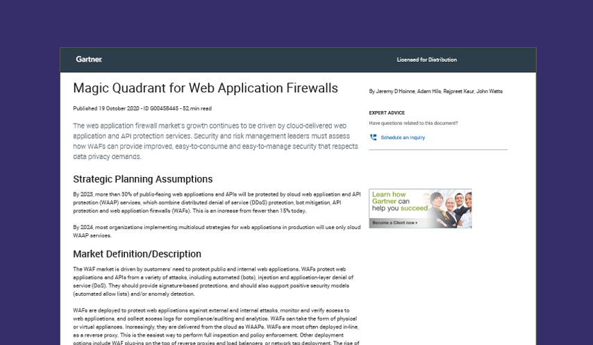 Gartner 2020 Magic Quadrant for Web Application Firewalls